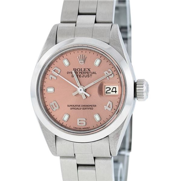 Rolex Ladies Stainless Steel Salmon Dial Datejust Wristwatch Oyster Perpetual