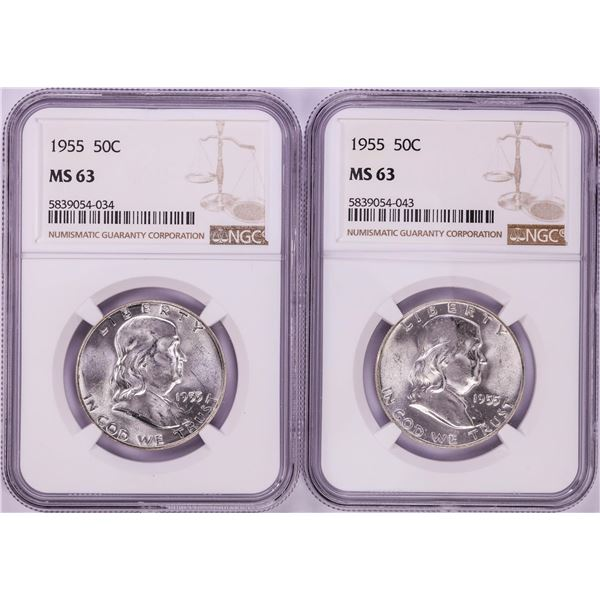Lot of (2) 1955 Franklin Half Dollar Coins NGC MS63