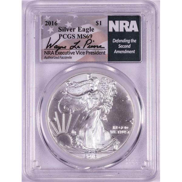 2016 $1 American Silver Eagle Coin PCGS MS69 NRA Executive Signature