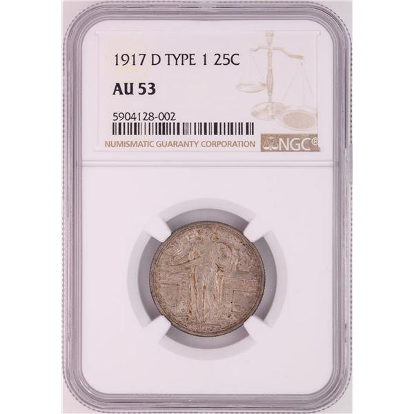 1917-D Standing Liberty Quarter Coin NGC AU53