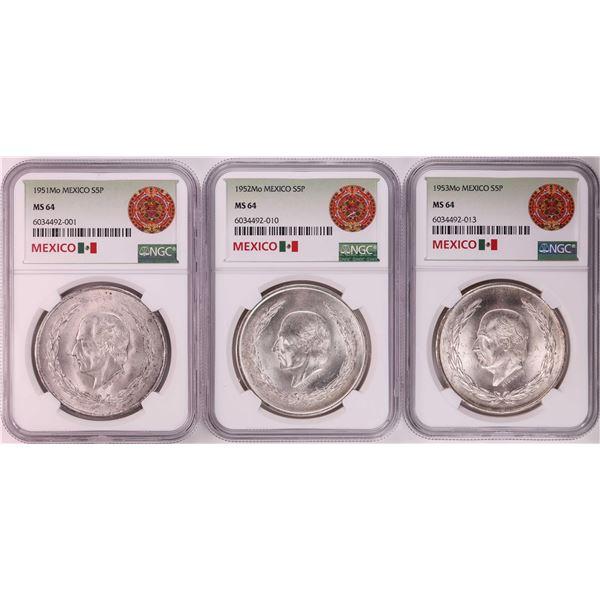 Lot of 1951-1953Mo Mexico 5 Pesos Silver Coins NGC MS64