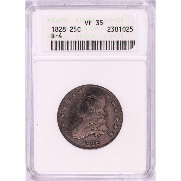 1828 Capped Bust Quarter Coin ANACS VF35 B-4
