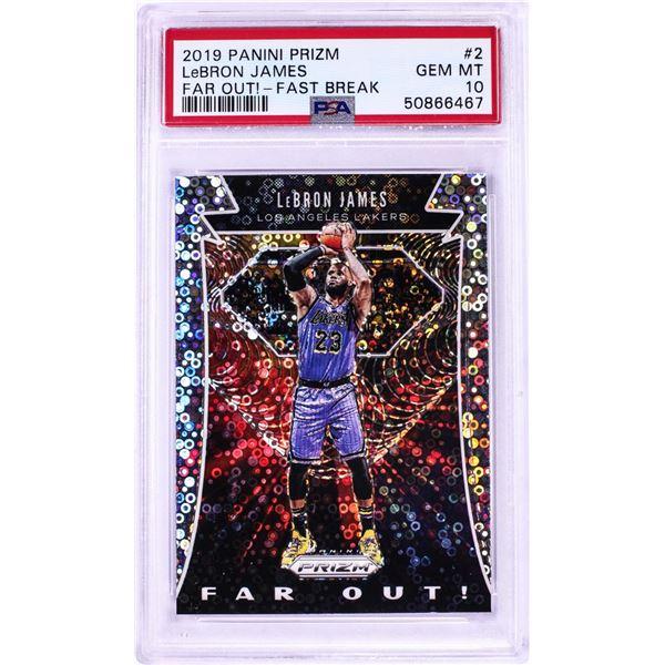 2019 Panini Prizm Far Out Fast Break LeBron James NBA Card #2 PSA Gem Mint 10