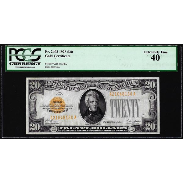 1928 $20 Gold Certificate Note Fr.2402 PCGS Choice Extremely Fine 40