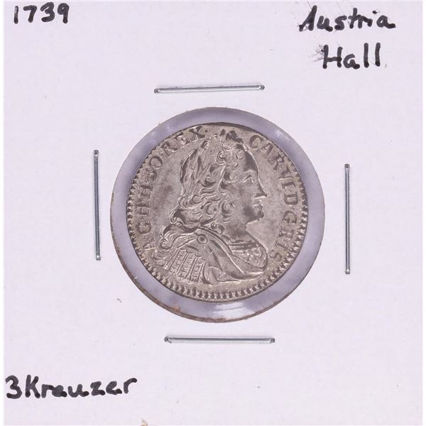 1739 Austria Hall 3 Kreuzer Silver Coin