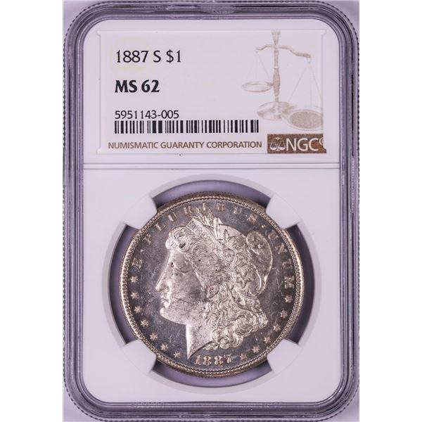1887-S $1 Morgan Silver Dollar Coin NGC MS62