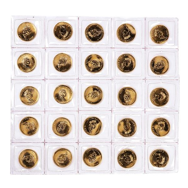 Lot of (25) Sealed 1999 Canadian $5 Maple Leaf Gold Coins
