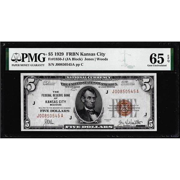 1929 $5 Federal Reserve Bank Note Kansas City Fr.1850-J PMG Gem Uncirculated 65EPQ