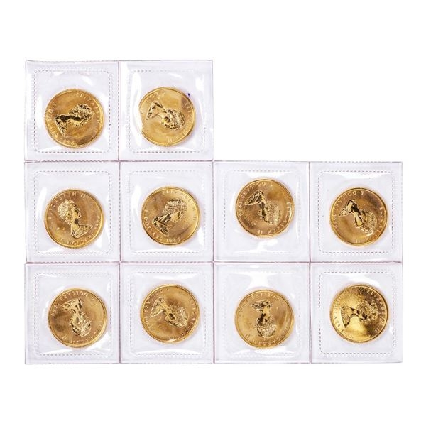 Lot of (10) Sealed 1986 Canadian $5 Maple Leaf Gold Coins