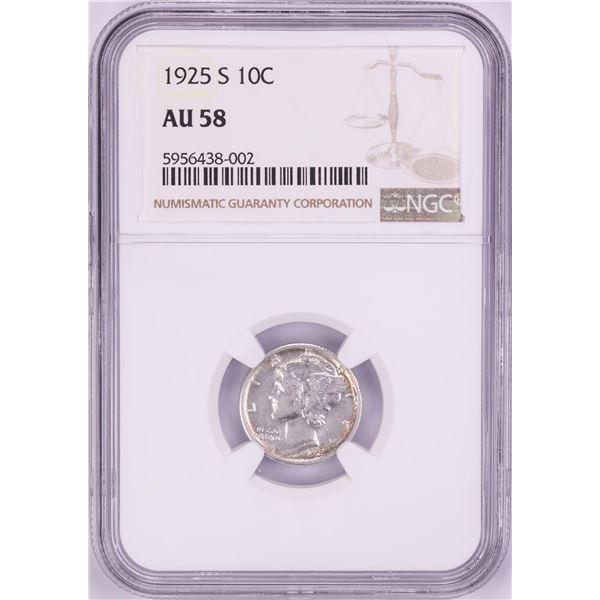 1925-S Mercury Dime Coin NGC AU58