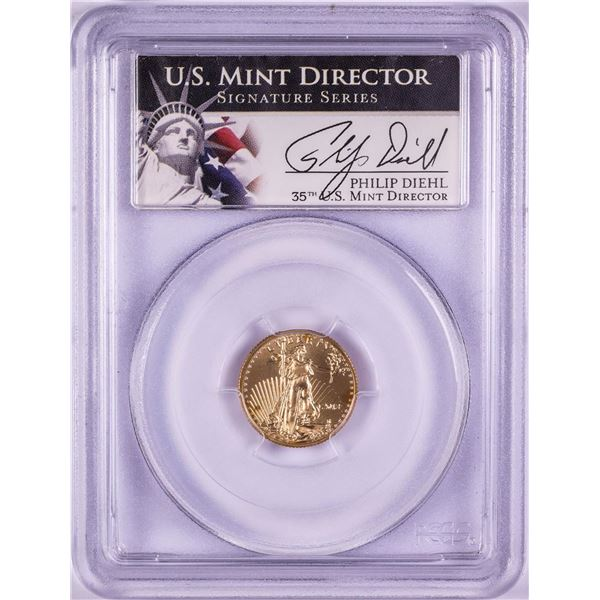2013 $5 American Gold Eagle Coin PCGS MS70 Mint Director Philip Diehl Signature