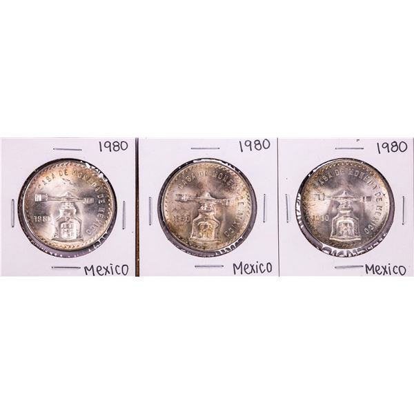 Lot of (3) 1980 Mexico Onza Silver Coins Nice Toning