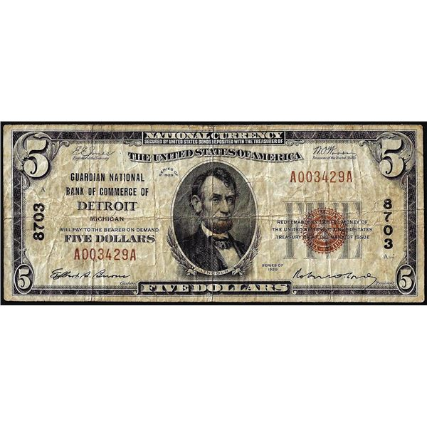 1929 $5 Guardian NB of Commerce of Detroit, MI CH# 8703 National Currency Note