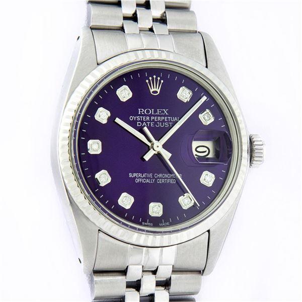 Rolex Mens Stainless Steel Purple Diamond Datejust Oyster Perpetual Wristwatch