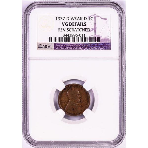 1922-D Weak D Lincoln Wheat Cent Coin NGC VG Details