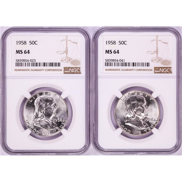 Lot of (2) 1958 Franklin Half Dollar Coins NGC MS64