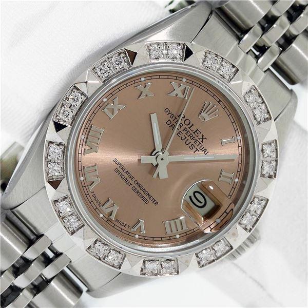 Rolex Ladies Stainless Salmon Roman Pyramid Diamond Datejust Wristwatch