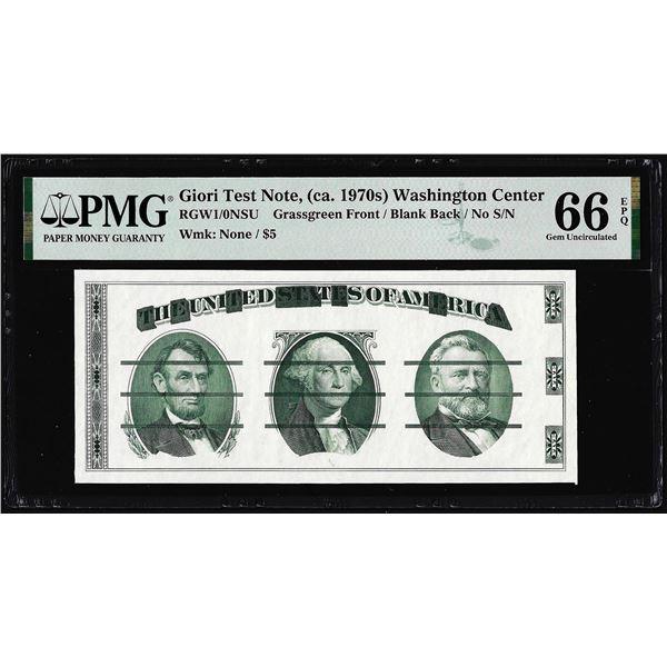 Circa 1970's Washington Center Giori Test Note PMG Gem Uncirculated 66EPQ