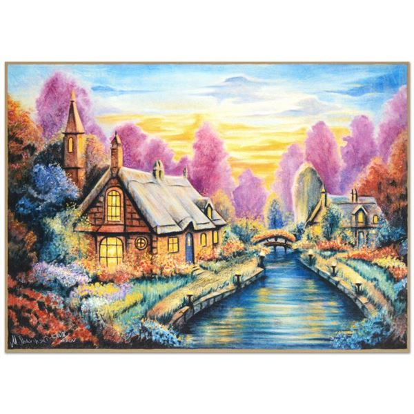 """Michael Sharinski """"Darice'S Cottage"""" Limited Edition Mixed Media On Paper"""
