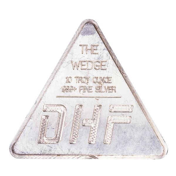 """DHF """"The Wedge"""" 10 Troy Ounce .999 Fine Silver Bar"""