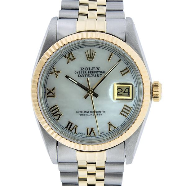 Rolex Mens Two Tone Mother Of Pearl Roman Datejust Oyster Perpetual Wristwatch
