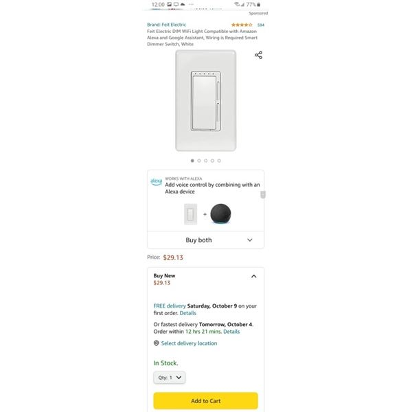 4 AS NEW FEIT WIFI DIMMER SWITCHES RETAIL $120