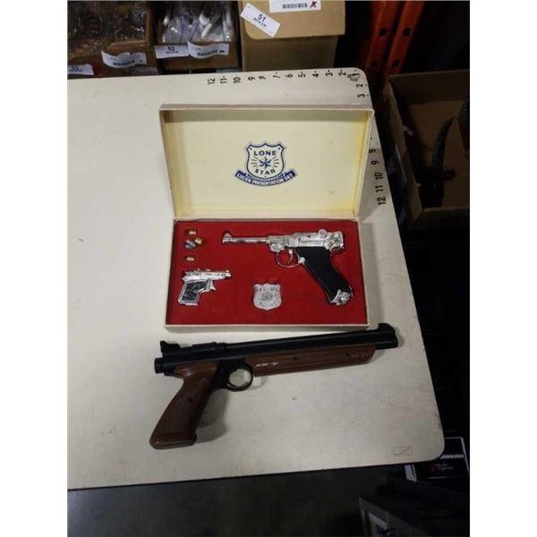 LONESTAR LUGER PRESENTATION SET CAP GUN SET AND AMERICAN CLASSIC MODEL 1377 .177 CAL PELLET GUN