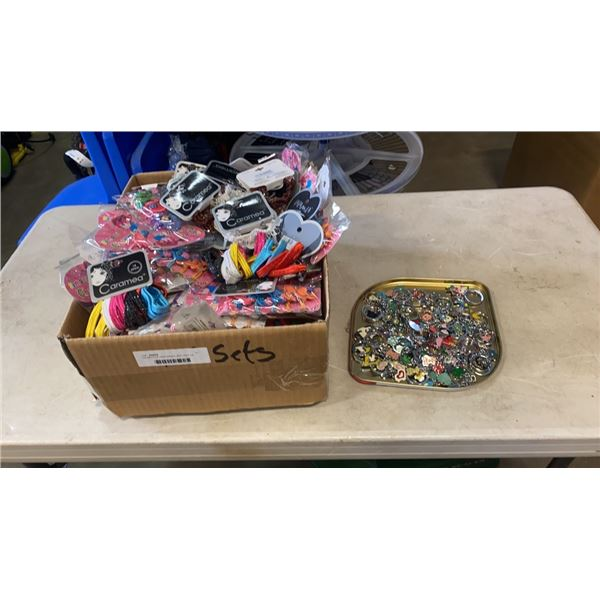 120 SETS OF HAIR BANDS AND TRAY OF NEW KEYCHAINS