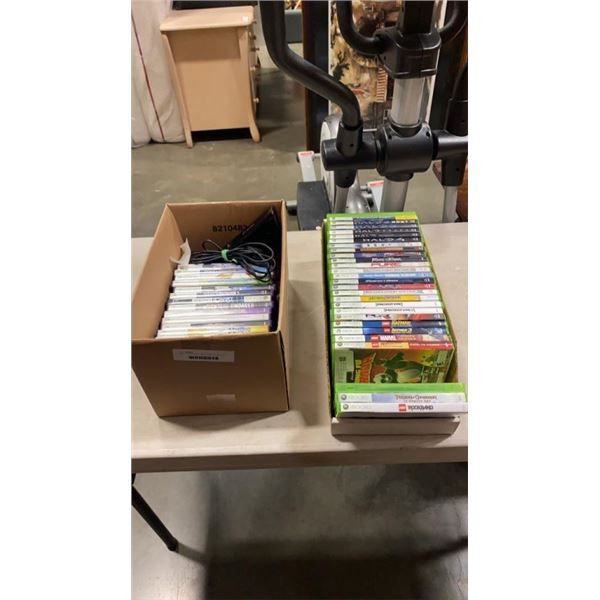 BOX OF XBOX 360 KINECT AND 16 KINECT GAMES