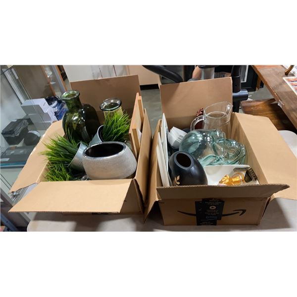 2 BOXES OF VASES, GLASSWARE, DECORATIVE SKULL TRAYS AND GLASS SKULL