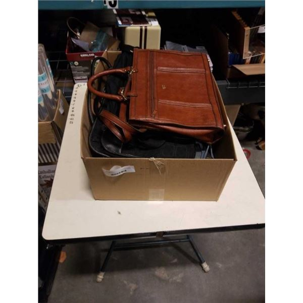 BOX OF PURSES AND VINTAGE BRIEFCASES
