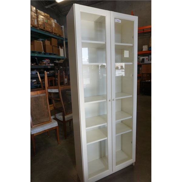 WHITE GLASS DOOR CABINET 80 INCHES TALL 31 WIDE