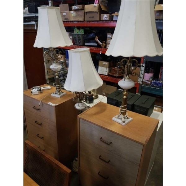 BRASS AND GLASS FLOOR LAMP AND PAIR OF TABLE LAMPS