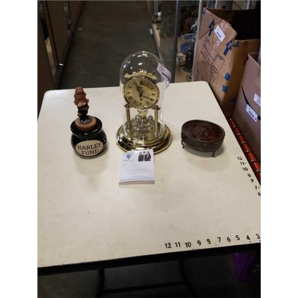 """25TH ANNIVERSARY  12"""" GLASS DOME CLOCK WITH SILVER INLAY JEWELRY BOX AND HARLEY FUND JAR"""
