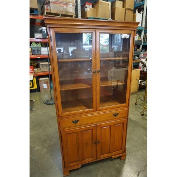65 INCH TALL GLASS DOOR CABINET