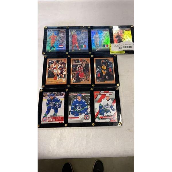 3 PANELS OF CARDS - BASKETBALL, HOCKEY, SOCCER