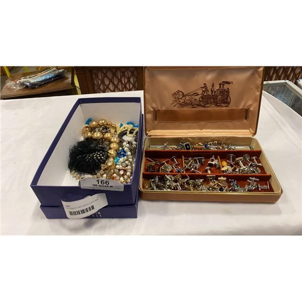 TRAY AND JEWELRY BOX WITH CUFFLINKS AND JEWELRY