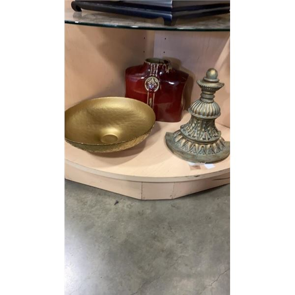 DECORATIVE VASE, GLASS BOWL FROM SPAIN AND WALL SCONCE