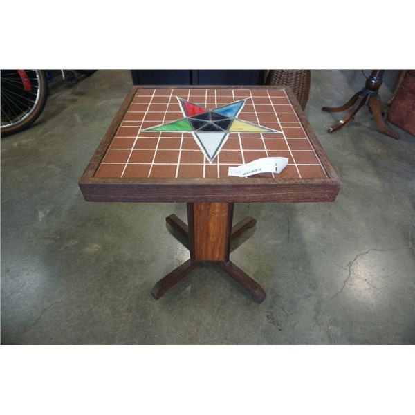 Leaded glass, tile top table