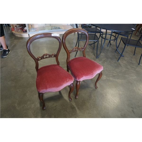 Two vintage balloon back chairs