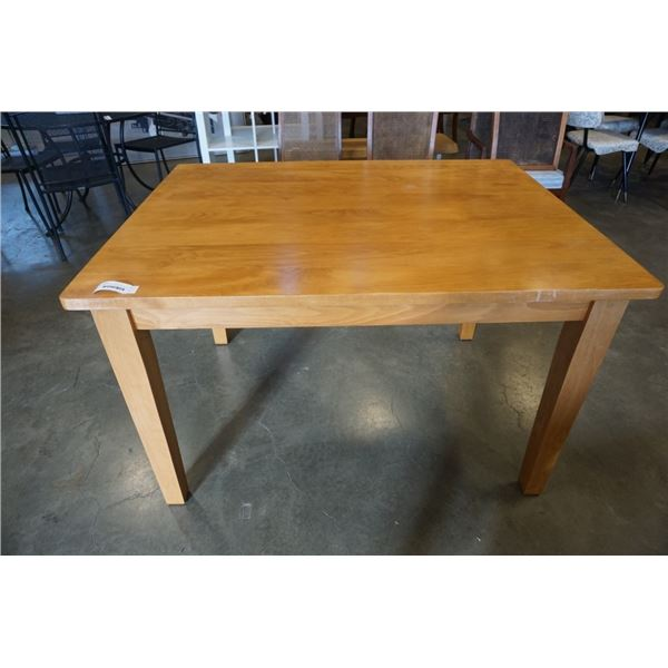 SOLID WOO DINING TABLE - 4 FOOT X 3 FOOT X 31 INCHES TTALL