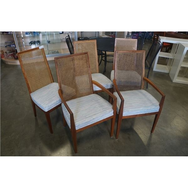 Set a 5 vintage rattan back dining chairs