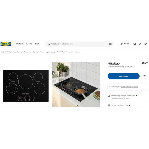 NEW IKEA FORVALLA COOKTOP - RETAIL $579