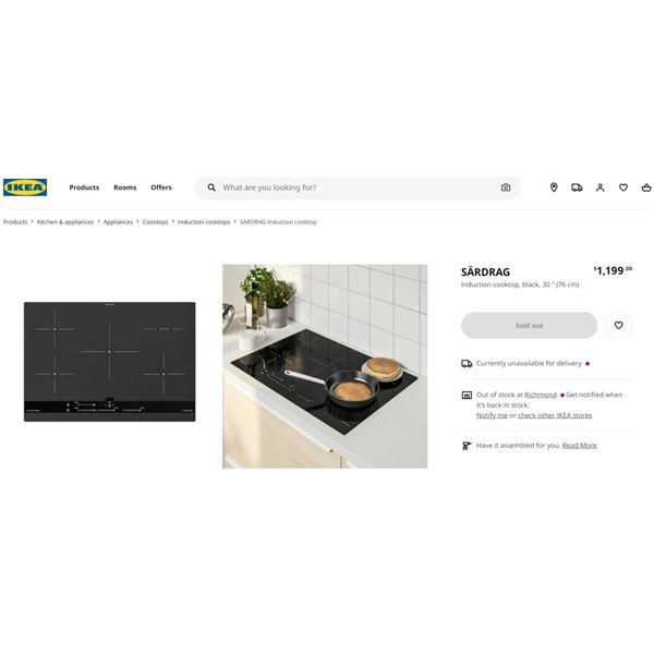 NEW IKEA SARDRAG INDUCTION COOKTOP - RETAIL $1199