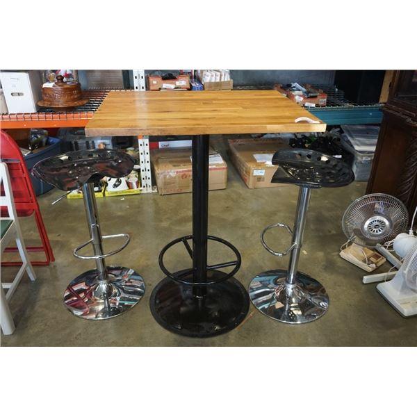 PUB TABLE AND 2 GAS LIFT BAR STOOLS
