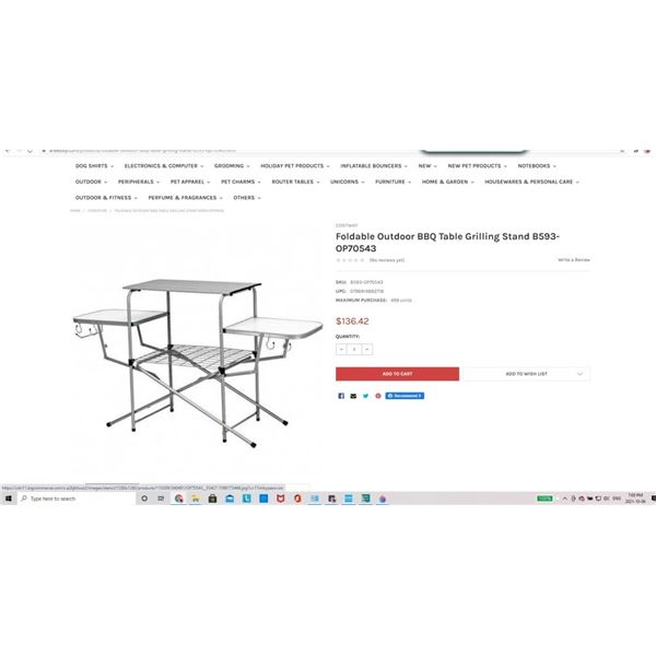 Costway Foldable Outdoor BBQ Table Grilling Stand B593-OP70543
