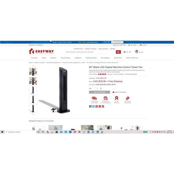 """Costway 35"""" Black LED Digital Remote Control Tower Fan"""