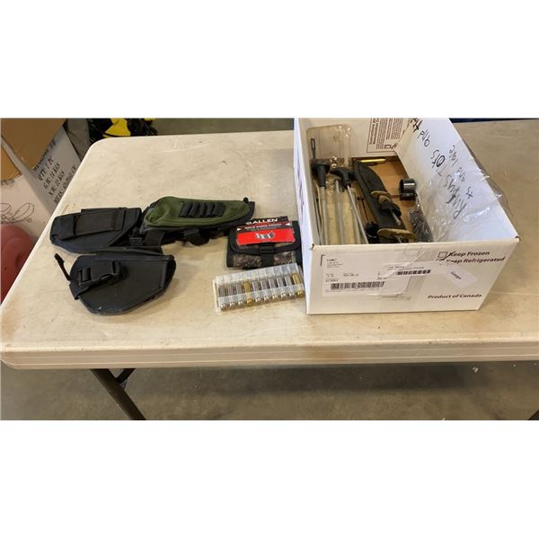 BOX OF HOLSTERS, FIREARM ACCESSORIES ETC