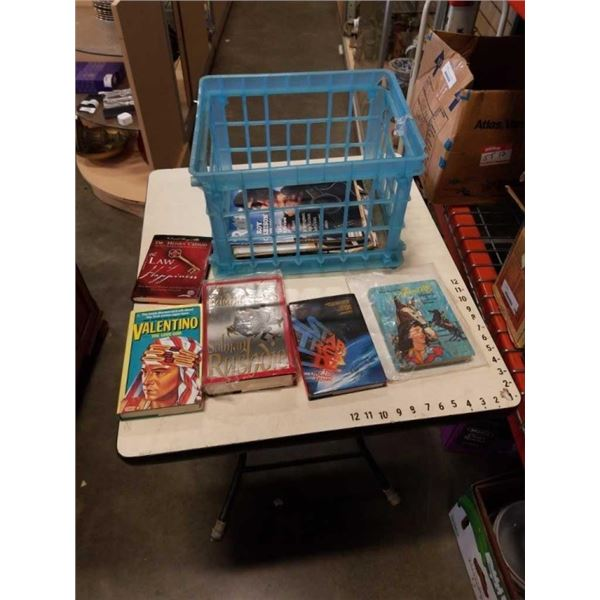 CRATE OF BOOKS - INCLUDES VINTAGE WALT DISNEYS ANNETTE MYSTERY AT MEDICINE WHEEL HARDCOVER AND SATAN