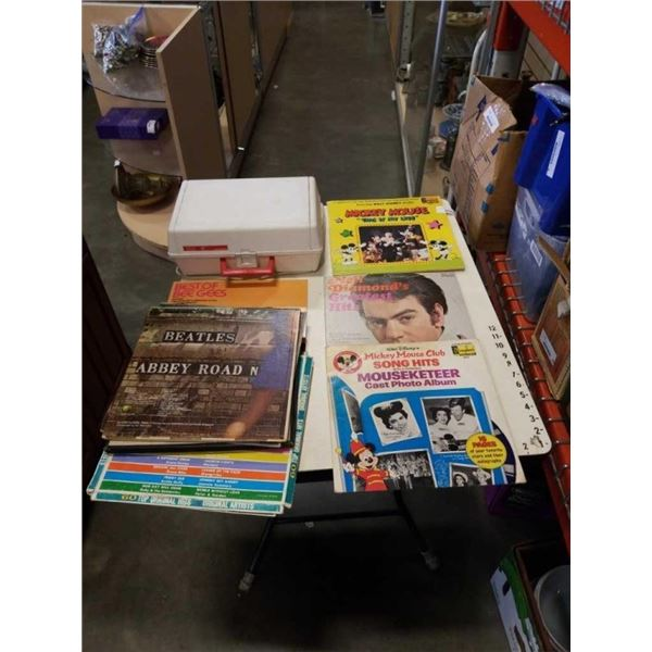 LOT OF RECORDS - INCLUDES MICKEY MOUSE AND BEE GEES AND SEARS KIDS RECORD PLAYER